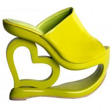 Retro Green Heart Heel Wedge Wedding Party Slip-ons Sandals
