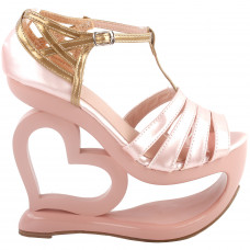 Elegant Baby Pink T-Strap Heart Heel Wedge Bridesmaid Wedding Sandals