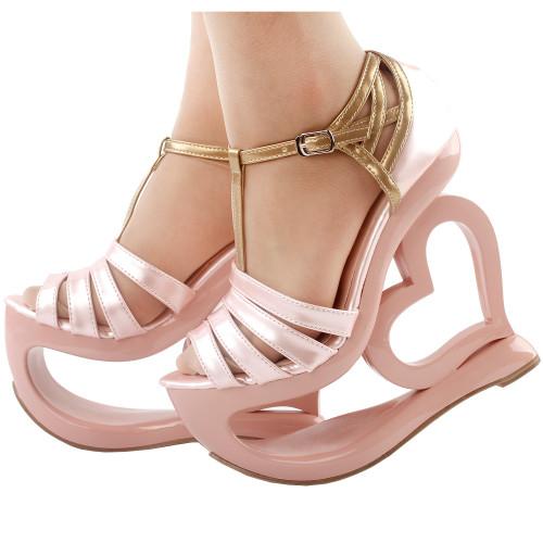 102180ab5788 Elegant Baby Pink T-Strap Heart Heel Wedge Bridesmaid Wedding Sandals