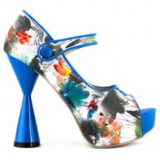 SHOW STORY Glam Floral Print PeepToe Cone Heel Platform Pump,LF40811