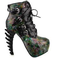 Show Story Punk Black Snake Print Lace Up Buckle Bone Heels Platform Ankle Boots,LF80648