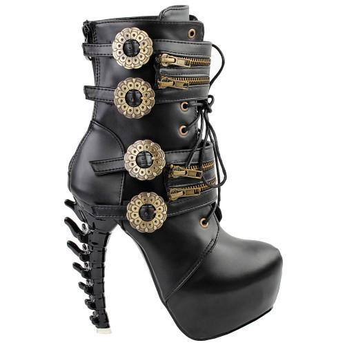 Show Story Punk Black Buckle Zip Lace Up Bone Heels Platform Ankle Boots,LF80651