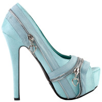 Show Story Punk Multi-Colour Zip Peeptoe Platform High Heel Stiletto Pump,LF80836