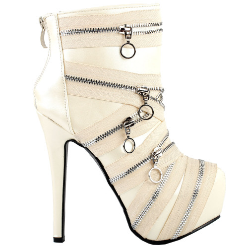 Punk Zip Gothic Round Toe Platform Stiletto Ankle Boots Pumps