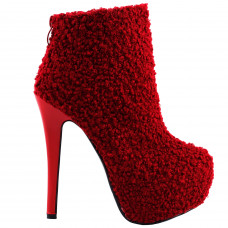 Sexy Red Round Toe Punk Stylish Hidden Club PartyPlatform Stiletto Ankle Boots