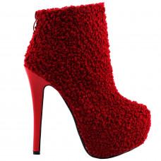 Sexy Red Round Toe Punk Stylish Hidden Club PartyPlatform Stiletto Ankle Boots