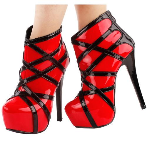 Punk Red Black Strappy Platform Stiletto Ankle Bootie BootsLF80858
