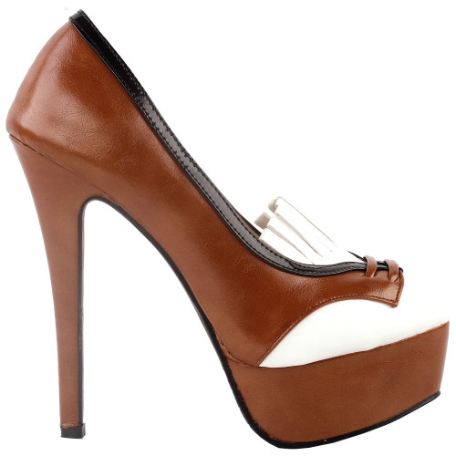 SHOW STORY Retro Brown White Black Tassel High Heel Platform Stiletto Pumps