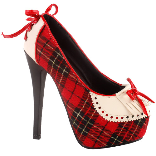 SHOW STORY Women Checkered Tassel Bow Hidden Platform Stiletto Heel Dress Pumps