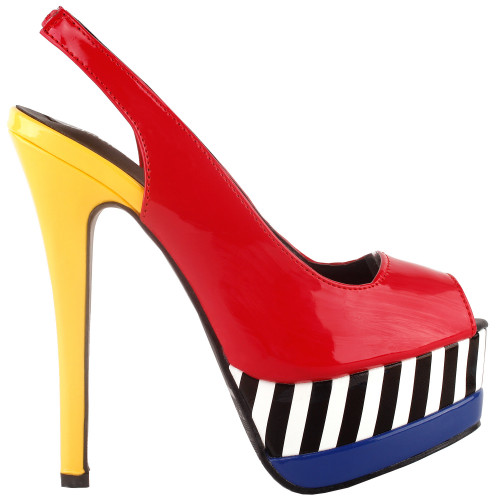 SHOW STORY Glam Stripe Peep Toe Slingback Stiletto Double Platform Dress Pump