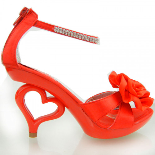 Show Story Strappy Ankle Strap Bride Wedding Dancing Heart Heels Sandals,SM33101
